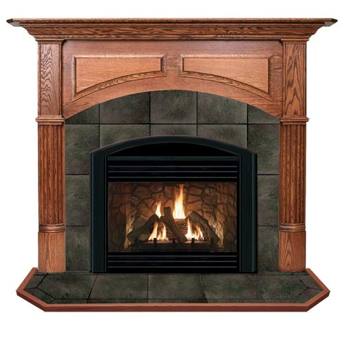 Geneva A Flush Fireplace Mantel in Medium English Chestnut