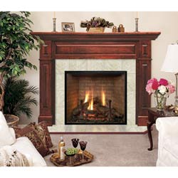 Lewiston Flush Fireplace Mantel in Medium Provincial