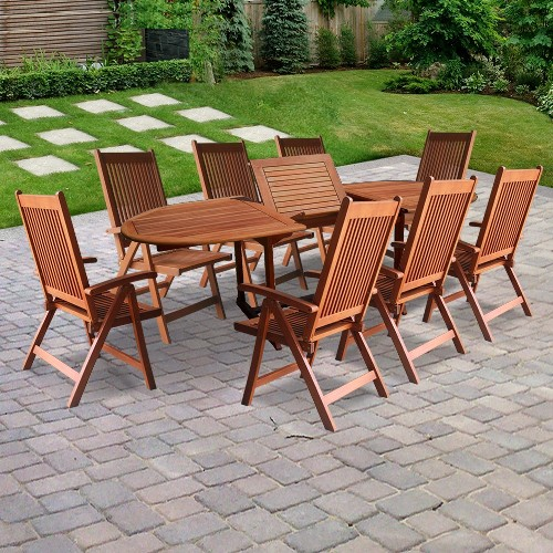 Vifah VIFAH.144SET2 Vista 9-Piece Dining Set - 1-Extension Table With Butterfly  8-Five Position Reclining Chairs