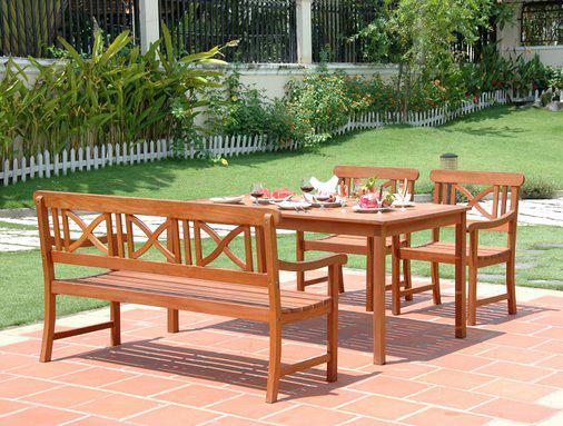Vifah VIFAH.98SET1 Balthazar Dining Set 1 - Rectangular Table  2 Arm Chairs  5ft Bench