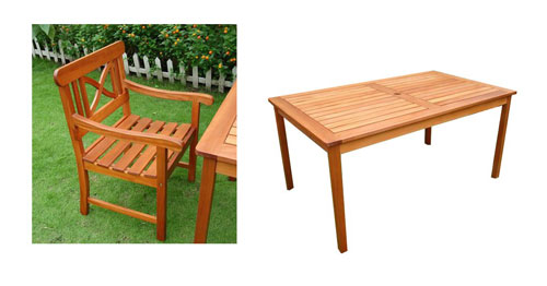 Vifah VIFAH.98SET2 Balthazar Dining Set 2 - Rectangular Table  4-Arm Chairs