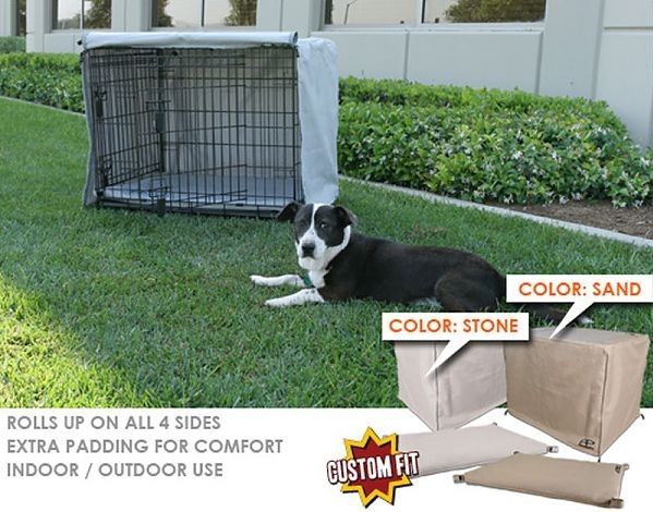 Animated Pet SG-057-19 Crate Cover & Pad Set Fits 42 X 26 X 28 Midwest Better Buy Corner Pin crates- Stone-Grey Color
