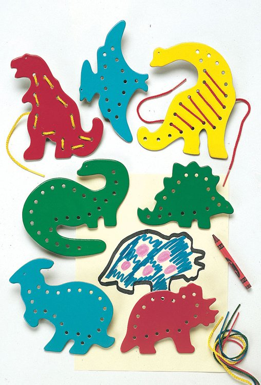 Smethport Specialty Company- Lauri Lr-2571 Lacing & Tracing Dinosaurs 7 per pack Ages 3-7