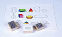 CENTER ENTERPRISES CE-788 STAMP SET THREE DIMENSIONAL GEOM.-13/PK GEOMETRIC SHAPES