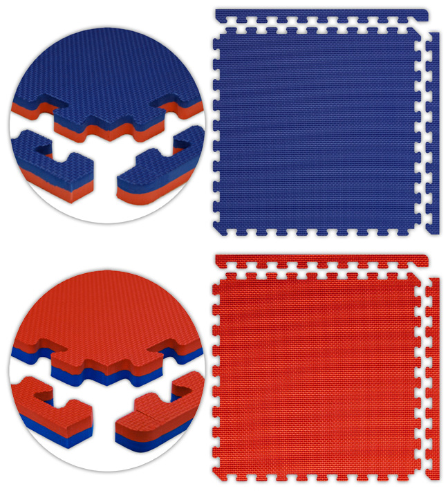 Alessco JSFRRDRB2X2I Jumbo Reversible SoftFloors -Red-Royal Blue -2  x 2  x .875inch Inside with two attached Corners-Borders