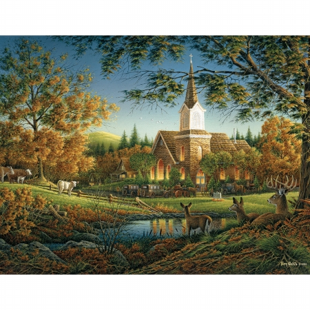White Mountain Puzzles WM723 Jigsaw Puzzle Terry Redlin 1000 Pieces 24 in. x 30 in. Sunday Morning