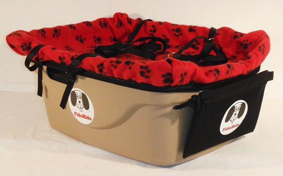 FidoRido Products FRT2RB-ML Tan Two-Seater with Fleece in Red with Black Paw Prints and A Medium Harness and A Large Harness