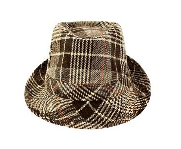 Faddism HAT57BNPLD030 Faddism Fashion Fedora Hat Features Brown Plaid Design