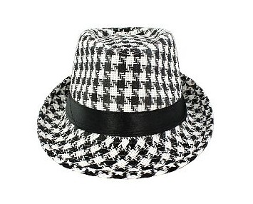 Faddism HAT58BKWHTPLD032 Faddism Fashion Hat Features Black and White Plaid Design