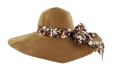 Faddism HATWNSTW-BN-FLR-008 Faddism Stylish Women Summer Straw Hat Brown Design with Brown Flower Bow