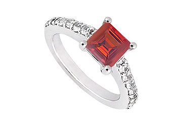 Fine Jewelry Vault UBJ1352AW14DR Ruby and Diamond Engagement Ring 14K White Gold 1.00 CT TGW Size 7