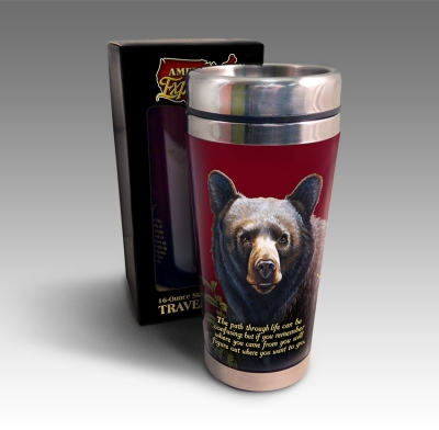 American Expedition STRD101 SIGNATURE 16OZ STEEL MUG  BLACK BEAR