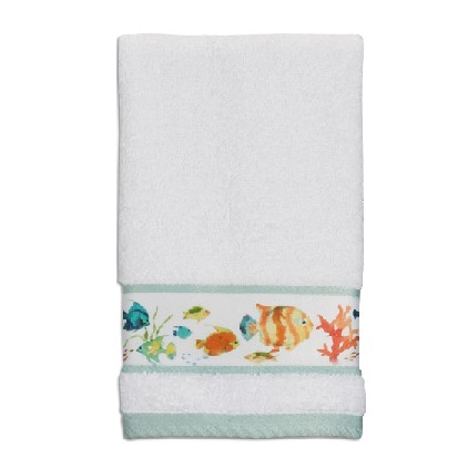 Creative Bath TP1073HMULT Rainbow Fish Print Hand Towel