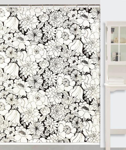 Creative Bath S1067BW Black and White Blossoms Shower Curtain at Sears.com