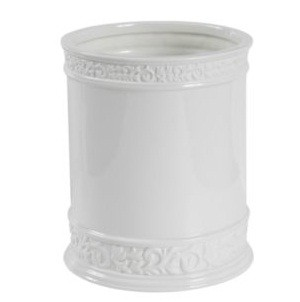 Creative Bath CMO54WH Cosmopolitan White Scroll Porcelain Wastebasket