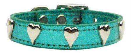 Mirage Pet Products 83-14 20 TqM Metallic Heart Leather Turquoise Metallic 20