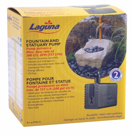 Laguna Water Garden Fountain And Statuary Pump Black 200 Gallonhour PT8110