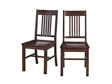 Walker Edison CHM2CNO Solid Wood  Cappuccino Dining Chair  Set of 2