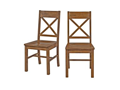 Walker Edison CHW2AB Solid Wood  Antique Brown Dining Chair  Set of 2