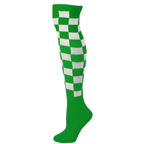 AJs A50316 Checkered Knee Socks - Green-White