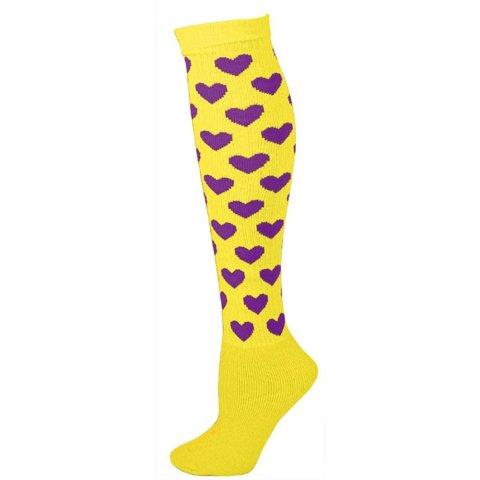 AJs A5043 Heart Knee Socks - Lemon Yellow with Purple Hearts