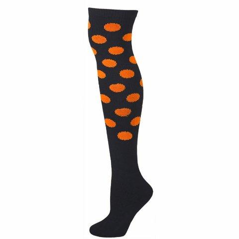 AJs A50501 Polka Dot Knee Socks - Black with Neon Orange Dots