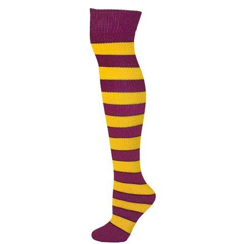AJs A51255 Adults Striped Knee Socks - Gold Yellow-Maroon