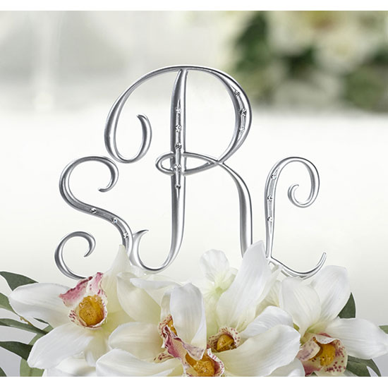 Lillian Rose MG555 2 Medium Silver Finish Monogram with Rhinestones - 2