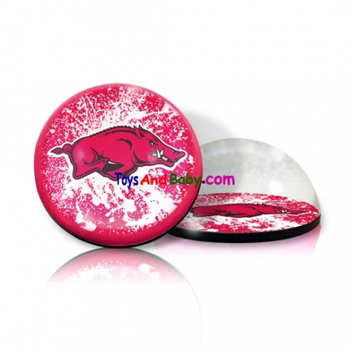 Paragon Innovations ArkansasURoundPPWeightLOGO Round crystal  magnetized paperweight with Arkansas University mascot image  giving a magnifying effect.