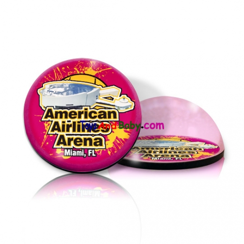 Paragon Innovations AmericanAirlinesArenaRoundPPWeight Round crystal  magnetized paperweight with American Airlines Arena image  giving a magnifying effect