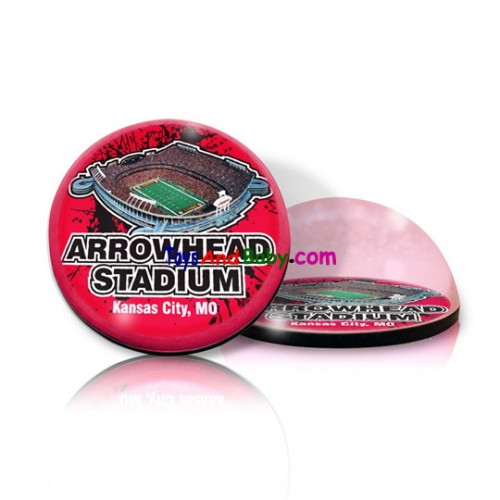 Paragon Innovations ArrowheadRoundPPWeightSTADIUM Round crystal  magnetized paperweight with Arrowhead stadium image  giving a magnifying effect.