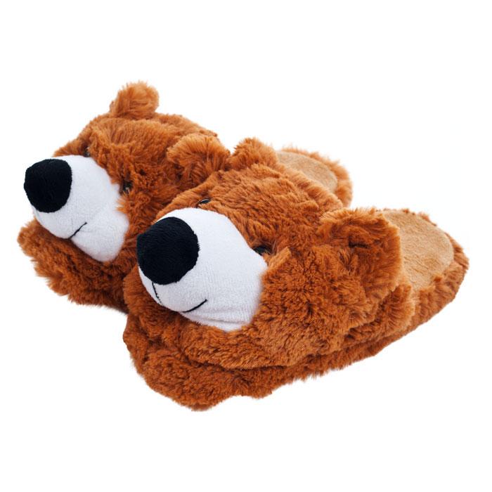 Trademark Poker 80-1517TB Kids Cuddlee Slippers - Teddy Bear - Ages 6 -12