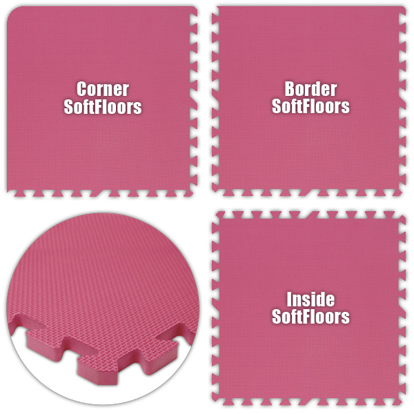 Alessco SFPK0626 SoftFloors -Pink -6  x 26  Set