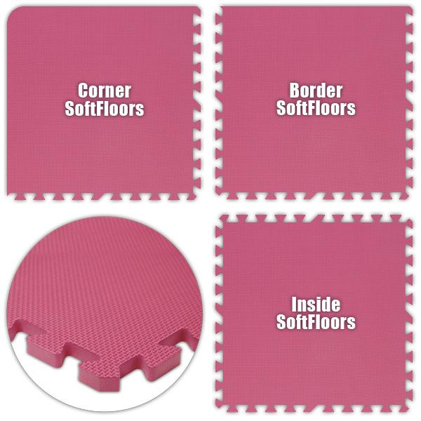 Alessco SFPK1444 SoftFloors -Pink -14  x 44  Set