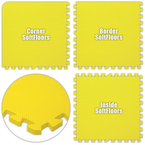 Alessco SFYW1638 SoftFloors -Yellow -16  x 38  Set