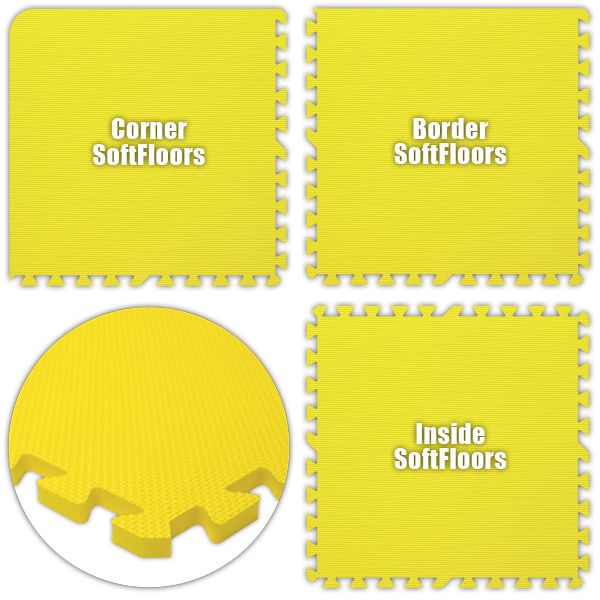 Alessco SFYW2828 SoftFloors -Yellow -28  x 28  Set