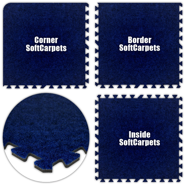 Alessco SCRB0828 SoftCarpets -Royal Blue -8  x 28  Set