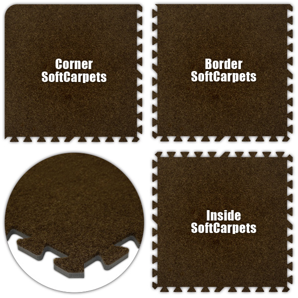 Alessco SCBN0416 SoftCarpets -Brown -4  x 16  Set