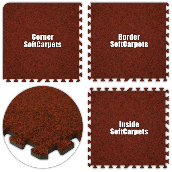 Alessco SCRD1214 SoftCarpets -Red -12  x 14  Set - Pack of 8
