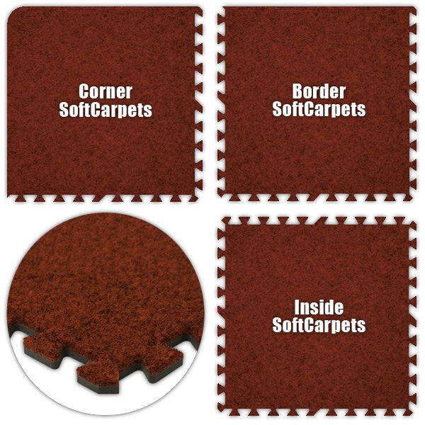 Alessco SCRD1218 SoftCarpets -Red -12  x 18  Set - Pack of 8
