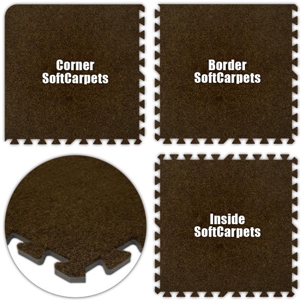 Alessco SCBN1246 SoftCarpets -Brown -12  x 46  Set