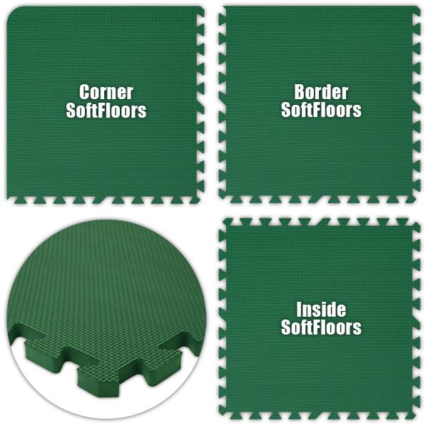 Alessco SFGN1416 SoftFloors -Green -14  x 16  Set - Pack of 8