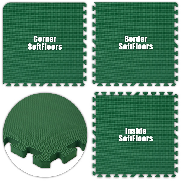 Alessco SFGN1620 SoftFloors -Green -16  x 20  Set - Pack of 8