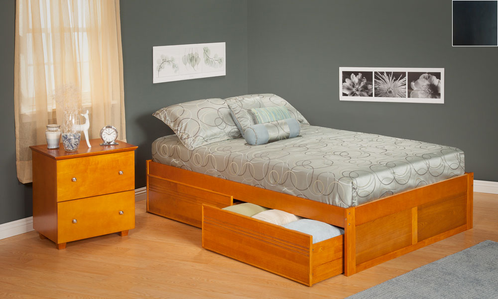 Image of Atlantic Furniture AR8022111 Urban Concord Twin Size with Flat Panel Foot Board and Urban Bed Drawers in an Espresso Finish