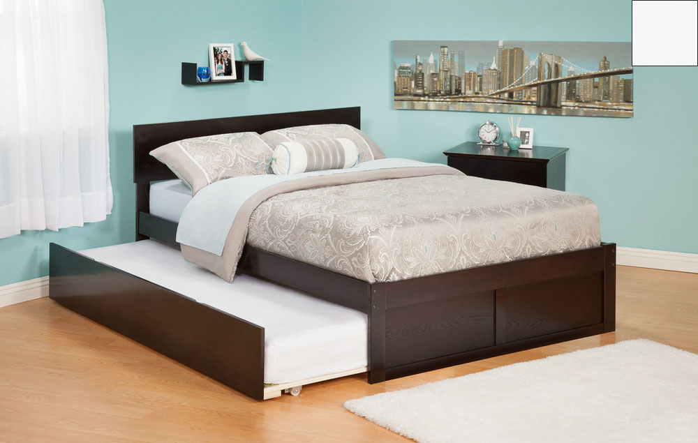Atlantic Furniture AR8122012 Orlando Twin Bed with Flat Panel Foot Board and Urban Trundle Bed in a White Finish