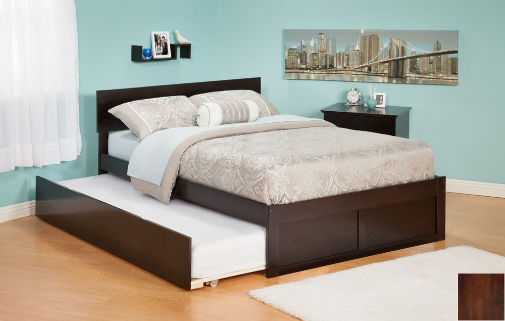 Atlantic Furniture AR8122014 Orlando Twin Bed with Flat Panel Foot Board and Urban Trundle Bed in an Antique Walnut Finish