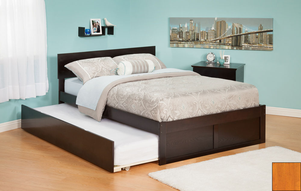 Atlantic Furniture AR8122017 Orlando Twin Bed with Flat Panel Foot Board and Urban Trundle Bed in a Caramel Latte Finish