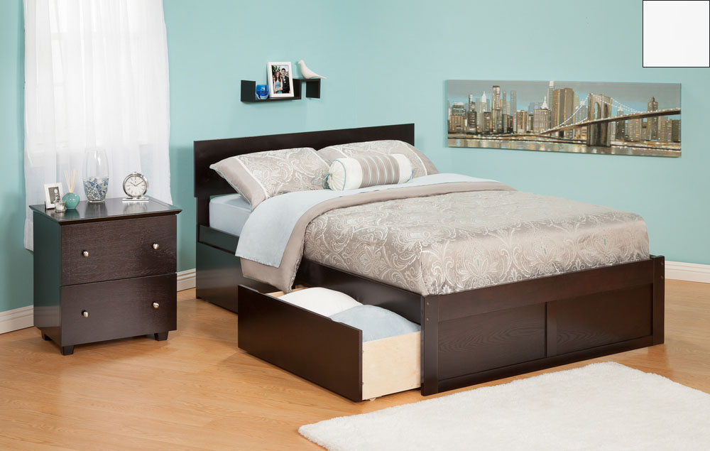 Atlantic Furniture AR8122112 Orlando Twin Bed with Flat Panel Foot Board and Urban Bed Drawers in a White Finish