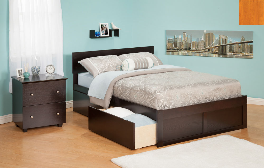 Atlantic Furniture AR8122117 Orlando Twin Bed with Flat Panel Foot Board and Urban Bed Drawers in a Caramel Latte Finish