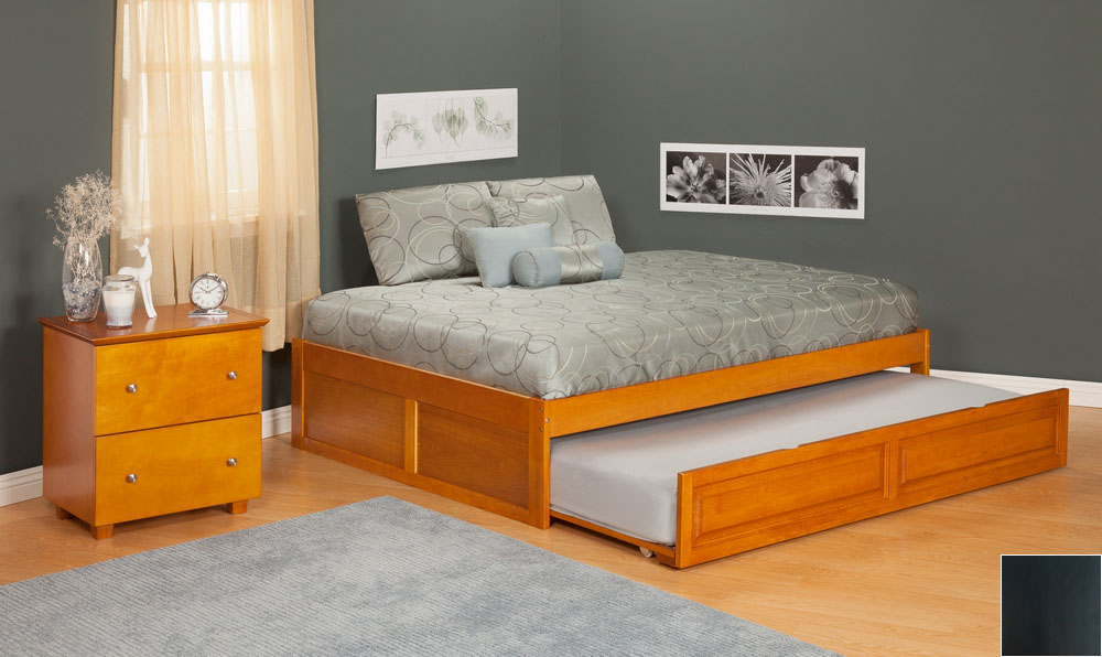 Urban Concord Full Size with Flat Panel Foot Board and Trundle Bed - Antique Walnut